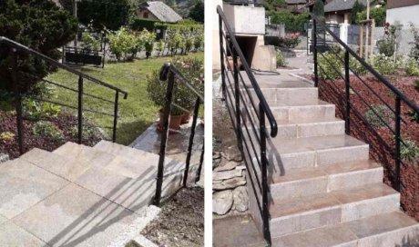 Aménagement escalier et deux terrasses avec pose garde corps à Méribel