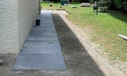 Réfection terrasse avec pose de dalles grès cérame